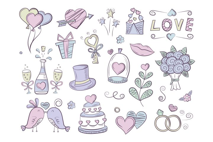 Collection of Vector Drawings on the Theme of Love and Wedding