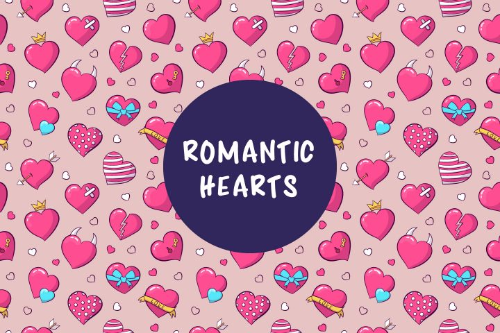 Colorful Pattern of Romantic Hearts