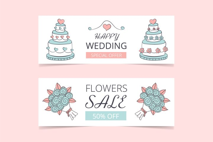 Commercial Banner for Advertising on the Theme of Wedding and Love