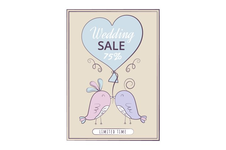 Commercial Banner for Advertising on the Theme of Wedding and Love Vector Design