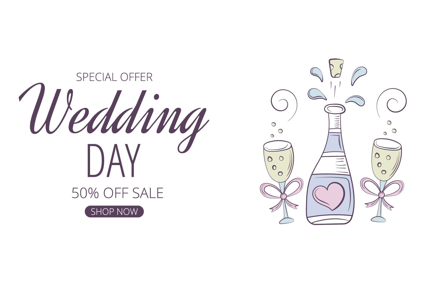 Commercial Banner for Advertising on the Theme Wedding and Love Concept