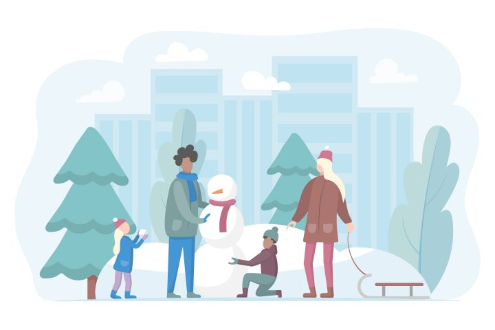 Family Makes a Snowman in Winter in a City Park Illustration