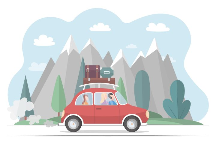 Family Travels by Car on Vacation Free Illustration