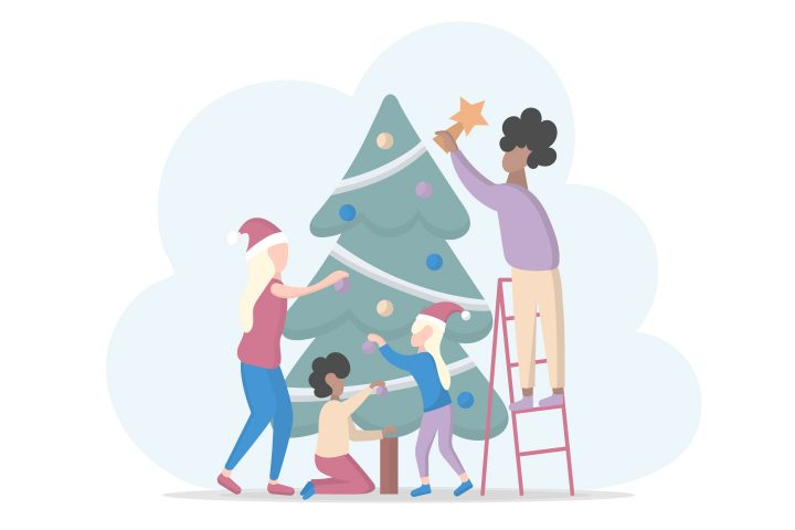 Family With Children Decorate Christmas Tree Flat Design