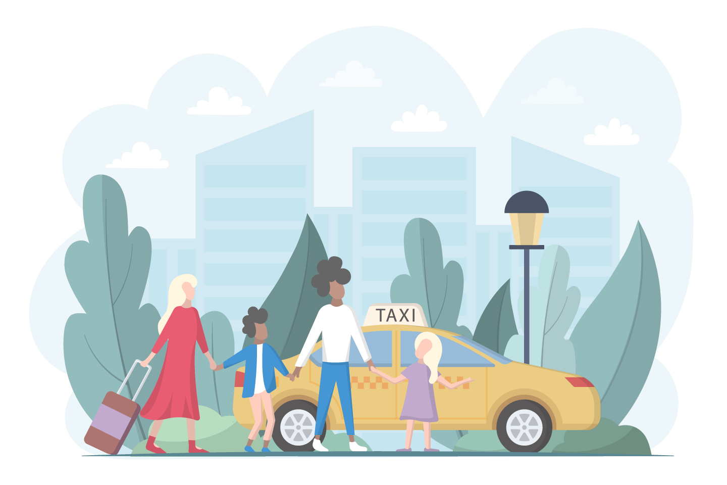 Family With Children Goes to a Taxi Illustration