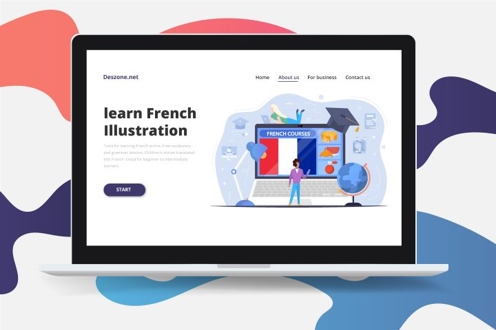 French Courses on Laptop Flat Design