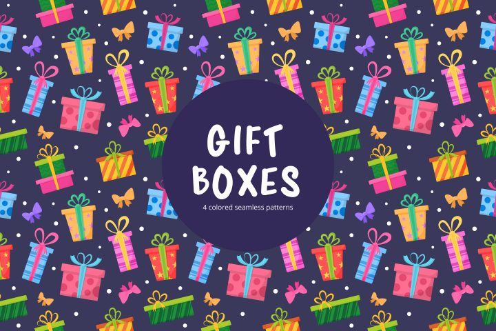 Gift Boxes Vector Seamless Pattern