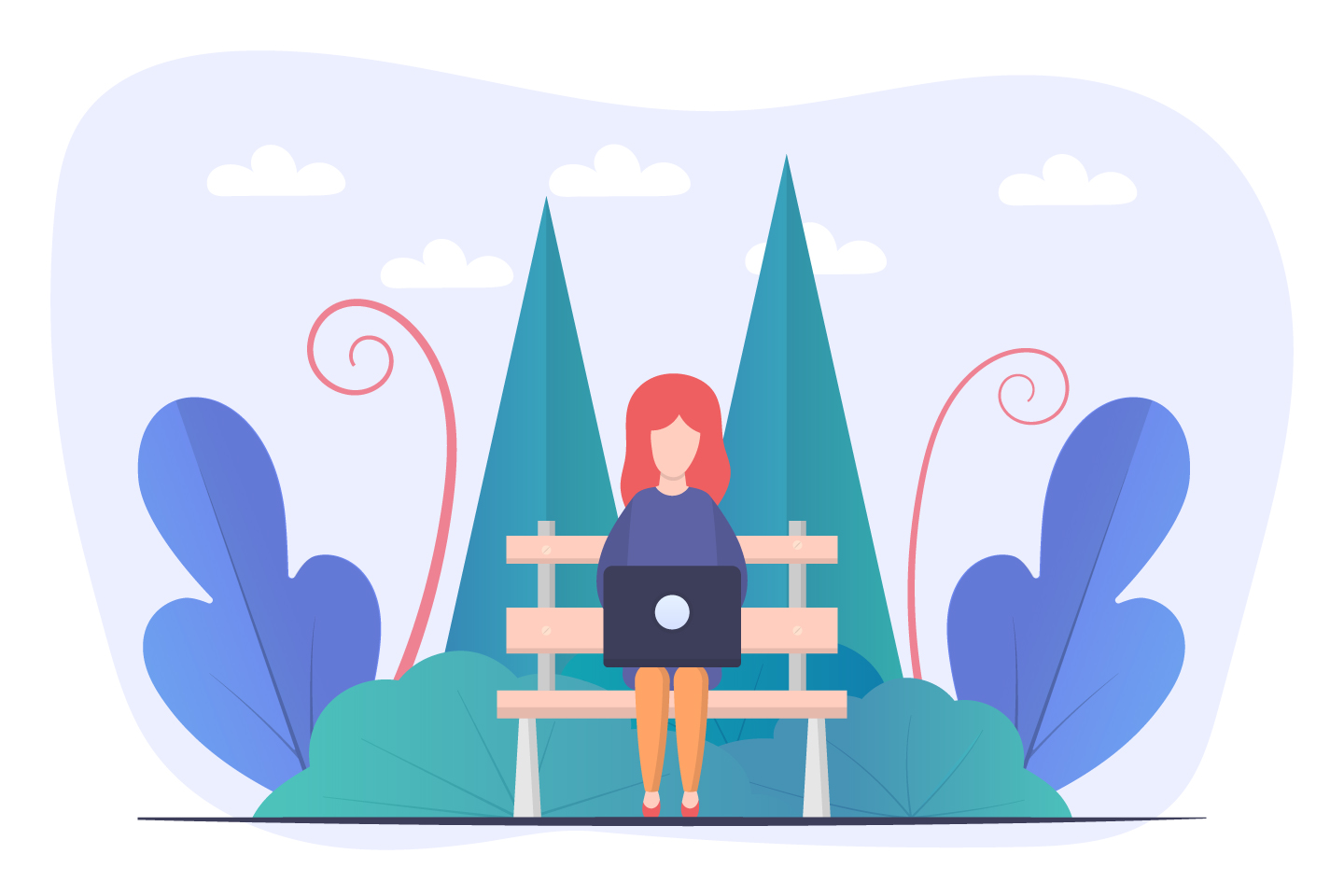 Girl at a Laptop in the Park Vector Design