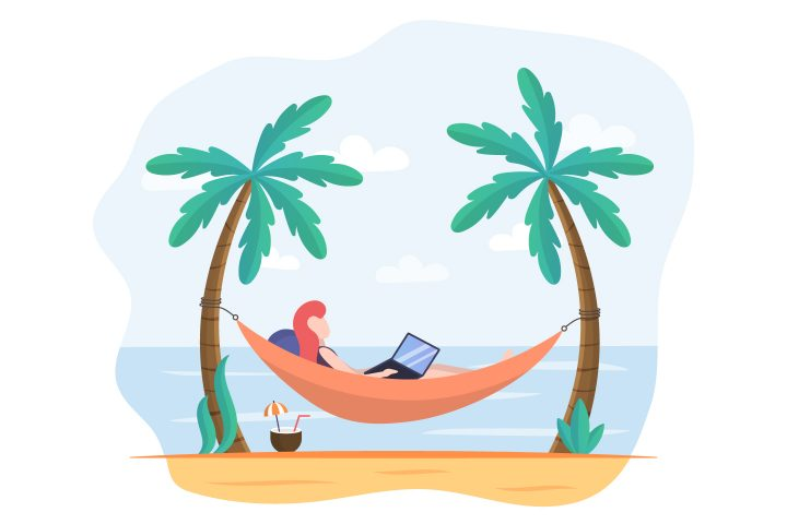 Girl on a Hammock at a Laptop Free Illustration