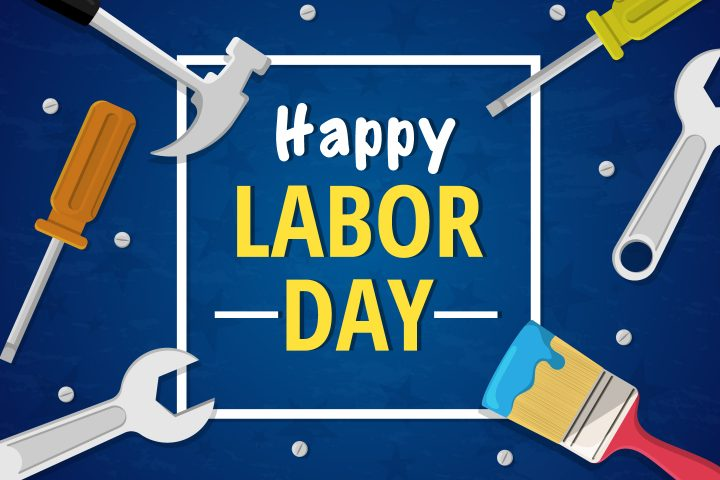 Happy Labor Day Free Illustration with Tools in Flat Design