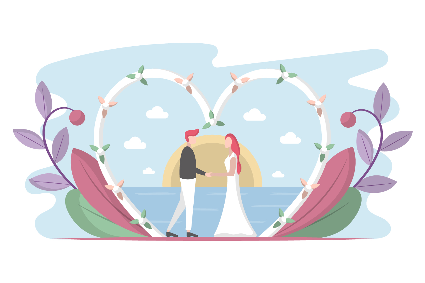 Heart Wedding Composition with Bride and Groom Concept
