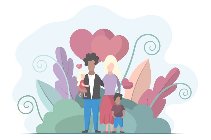 Husband and Wife are Standing with Children Vector Design