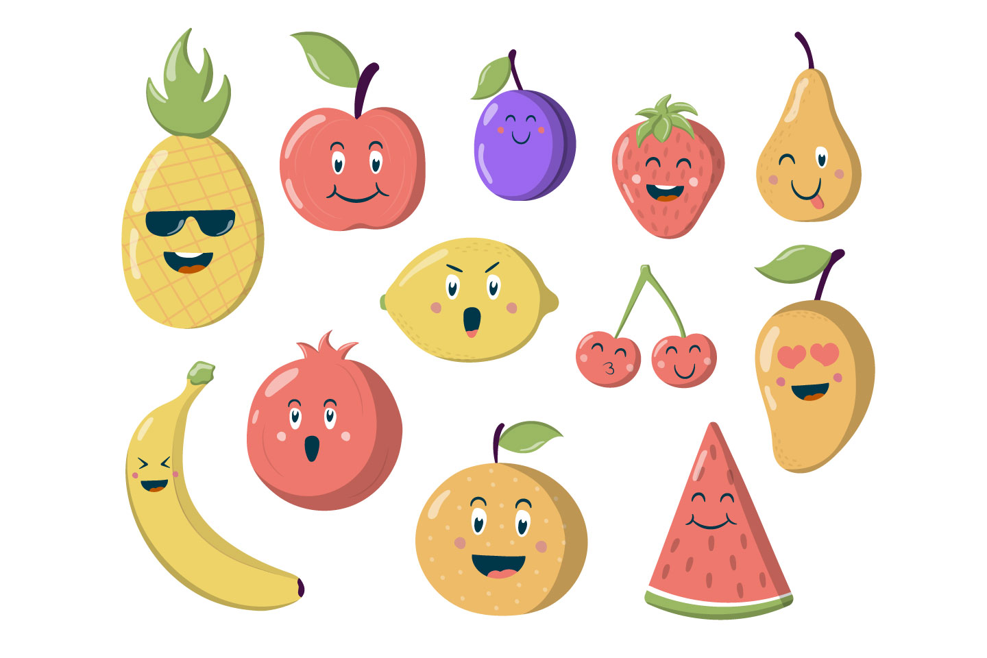 Illustration of Funny Fruits and Berries for Websites