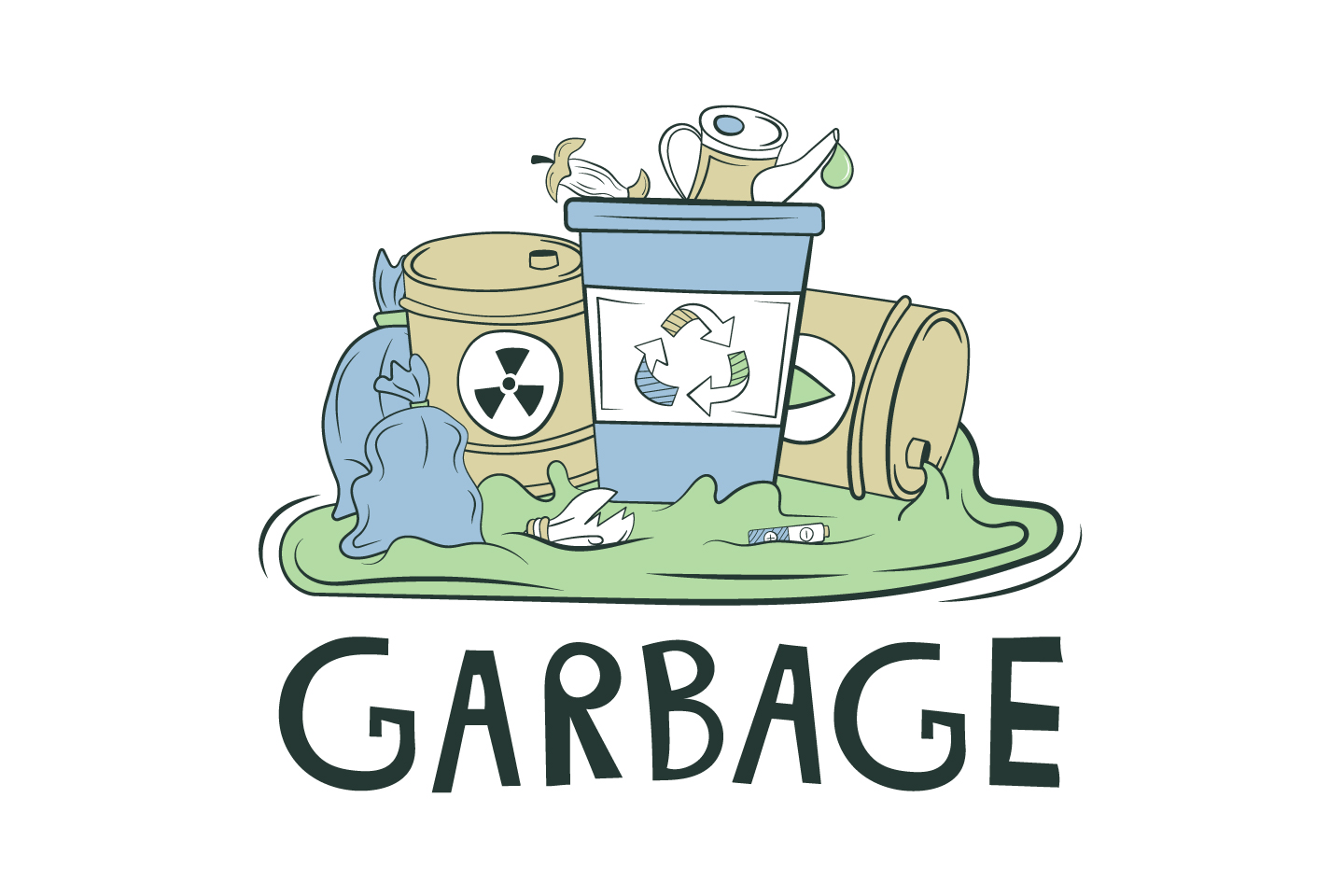 Illustration on the Topic of Garbage for Websites Vector Design