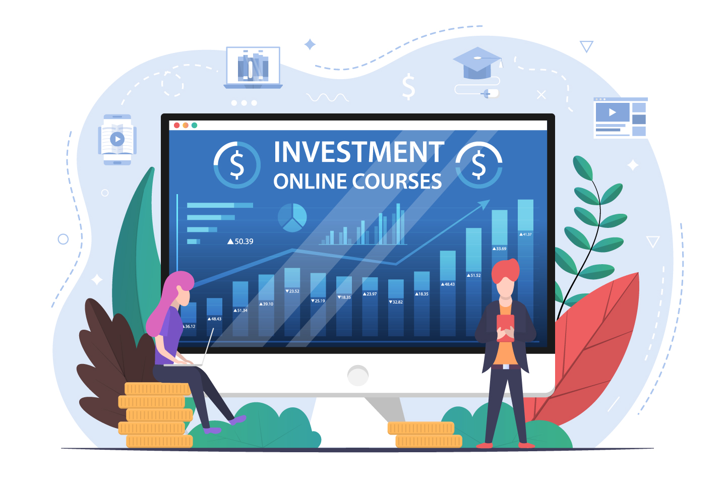 Investment Online Courses Vector Design