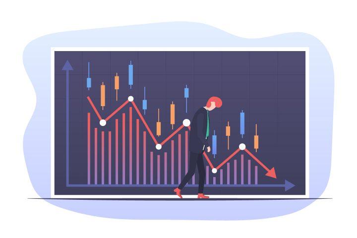 Investor Amid Falling Stock Market Illustration