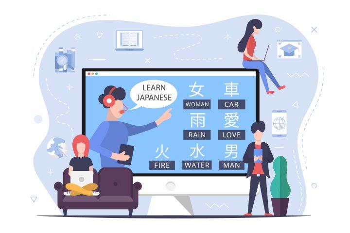 Japanese language Courses Online Flat Design