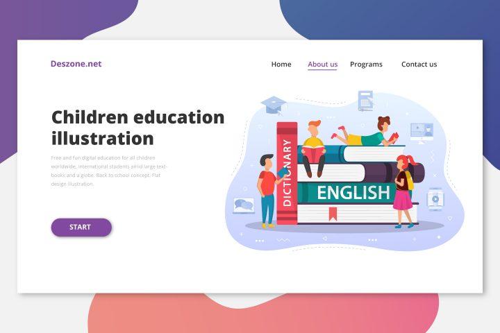 Kid English Learning Free Vector Design