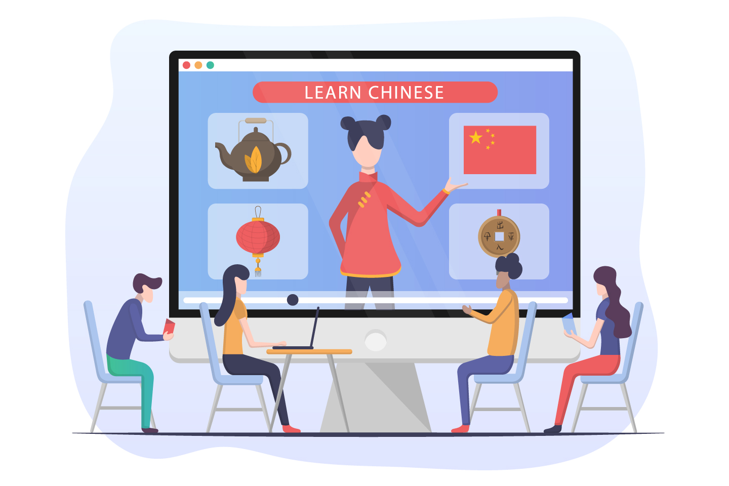 Learn Chinese Online Flat Design