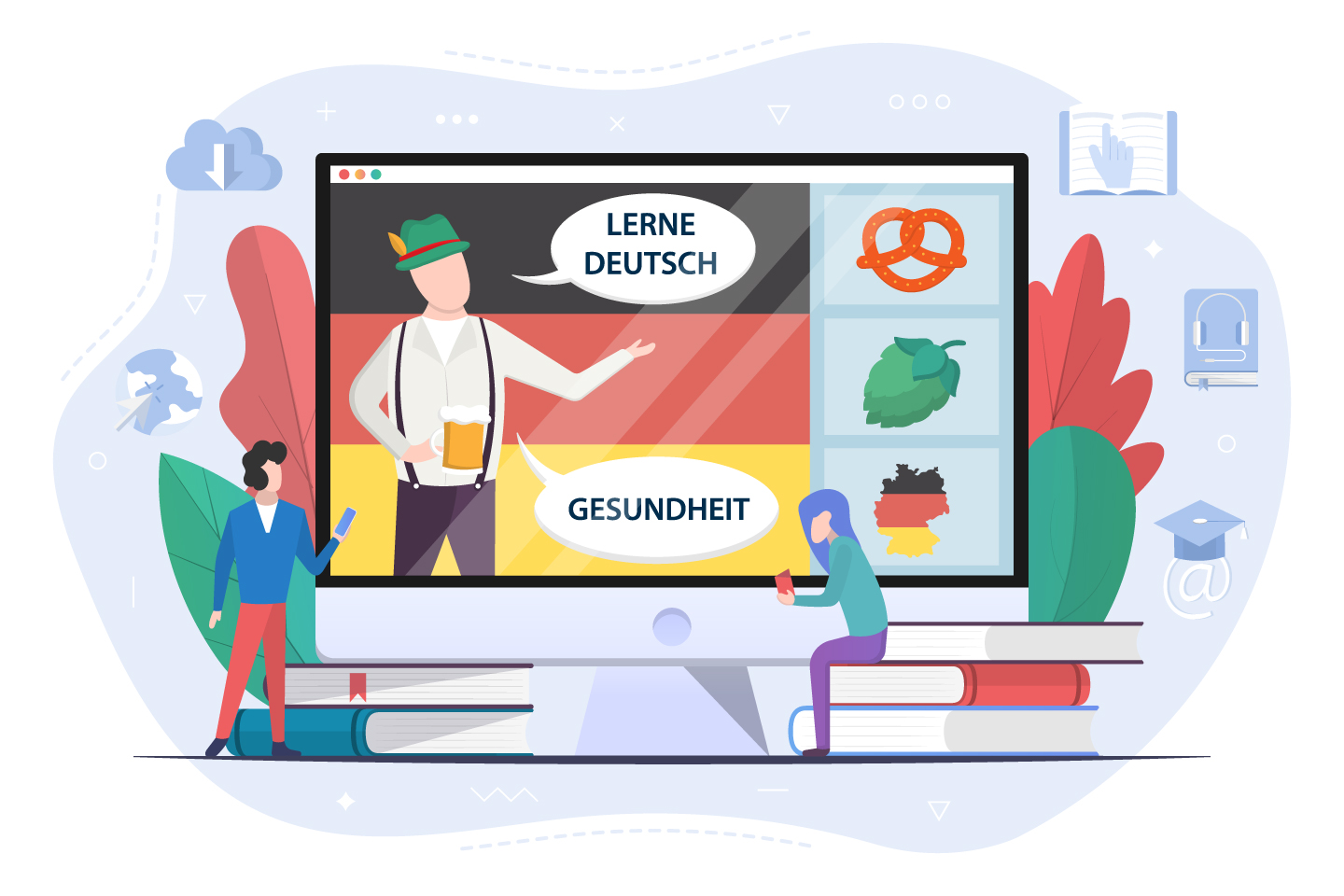 Learn German language Concept