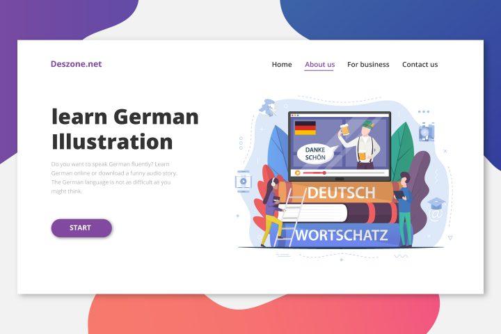 Learn German Online Illustration