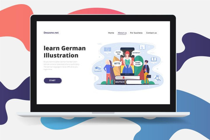 Learn German Concept Vector Design