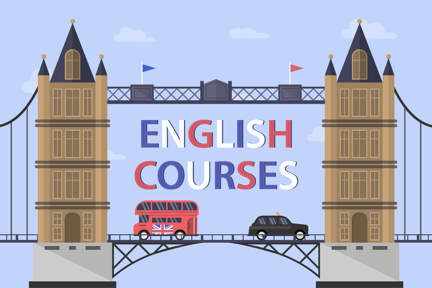 Learning English in London Illustration