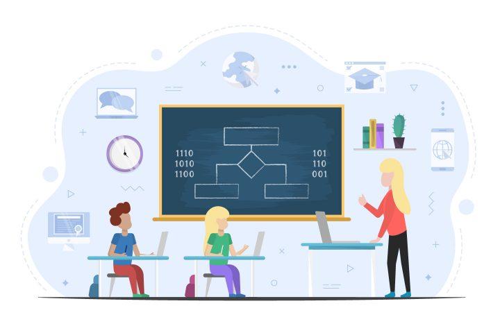 Lesson in School Design Free Vector Illustration