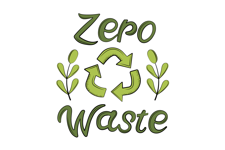 Lettering Zero Waste Flat Design