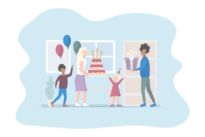 Little Girl Birthday Family Celebration With Parents Vector Design