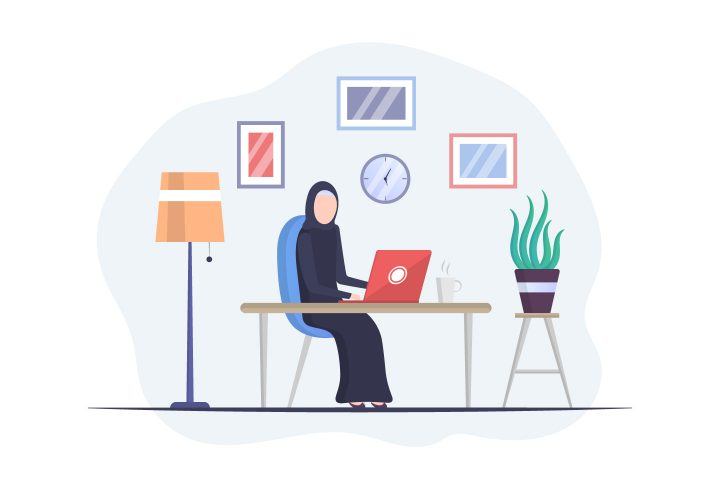 Muslim Business Woman in Working on Laptop Free Illustration