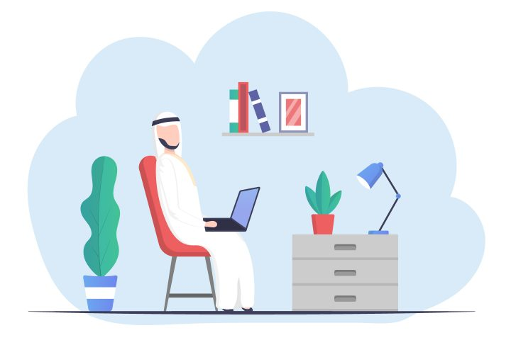 Muslim Businessman in Traditional Clothing Working on Laptop Vector Illustrations