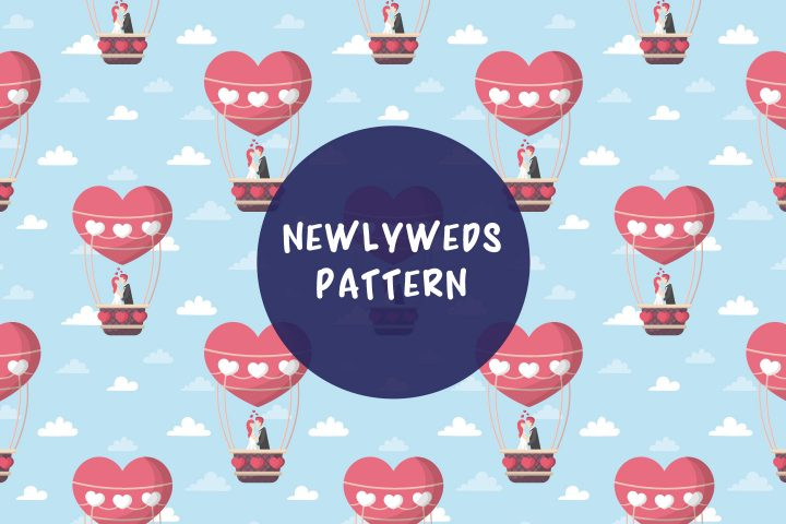 Newlyweds in a Balloon Vector Seamless Pattern