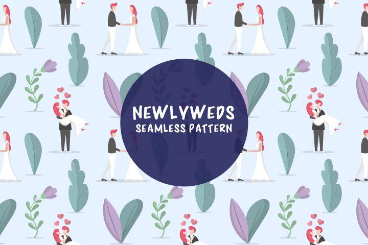 Newlyweds Vector Seamless Pattern
