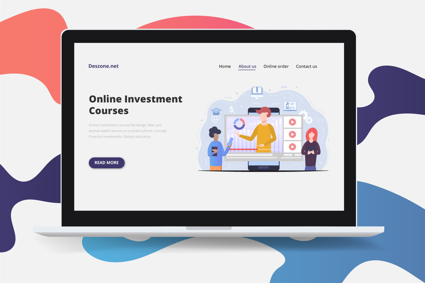Online Investment Courses Flat Design