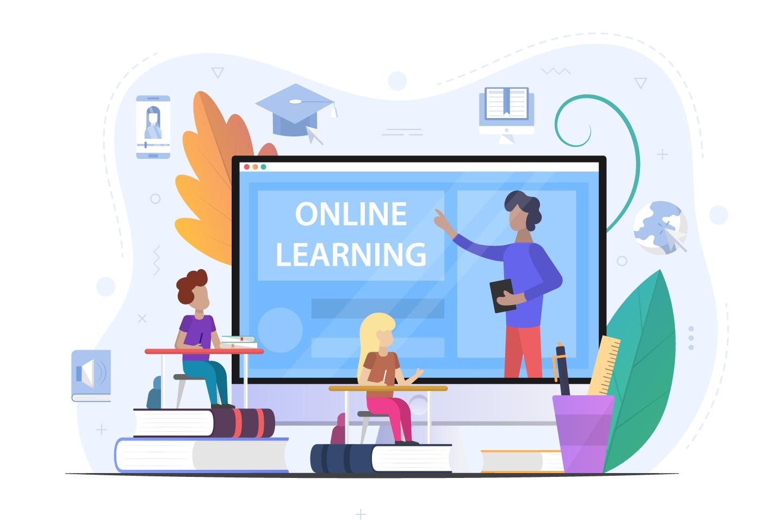 Online School Learning Concept Illustration