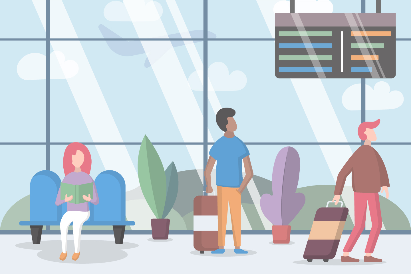 Passengers at the Airport are Waiting for Departure Vector Design