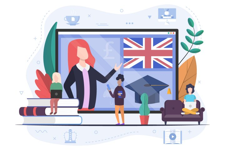 People Learn English at Home Illustration