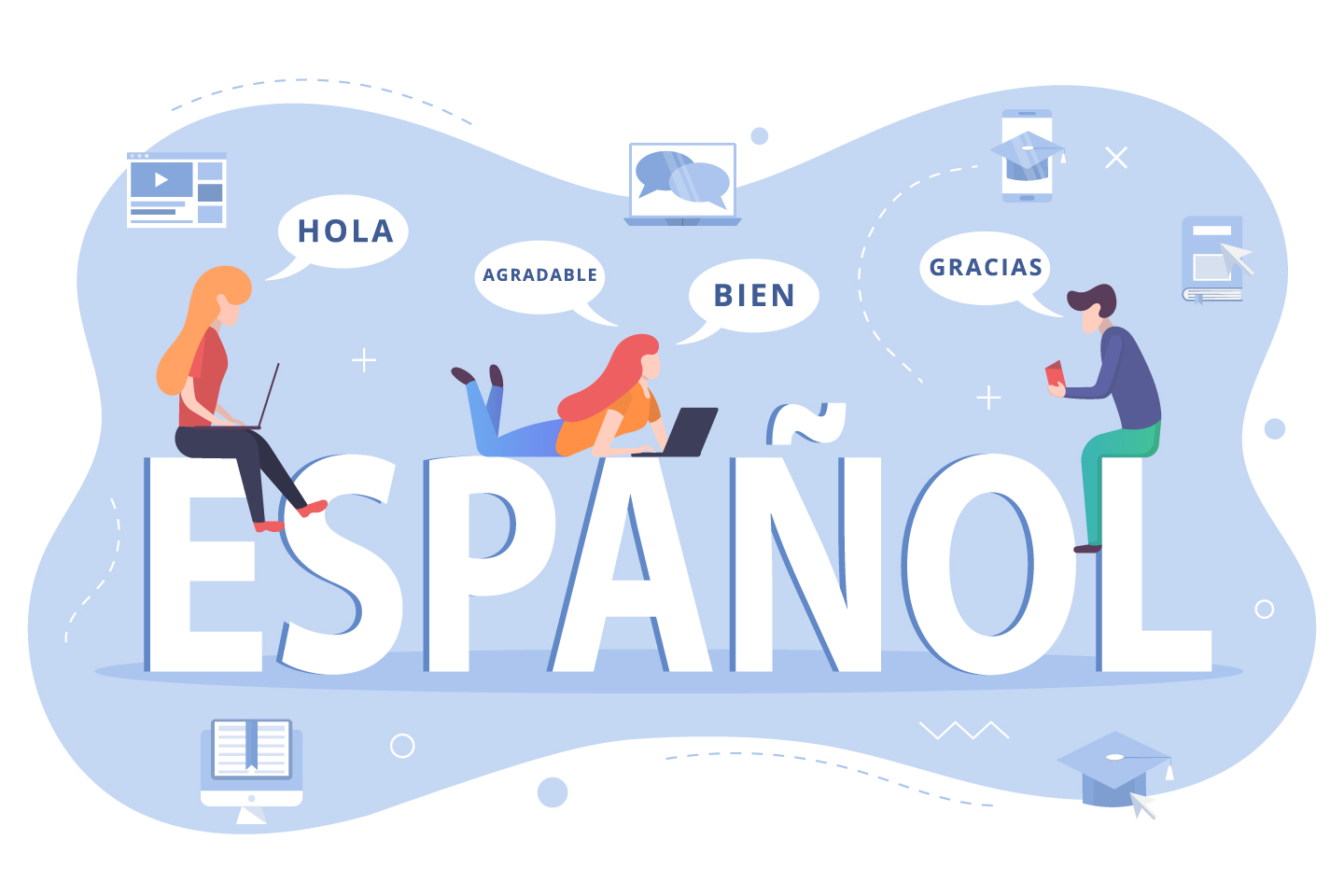 Learn Spanish lettering Concept