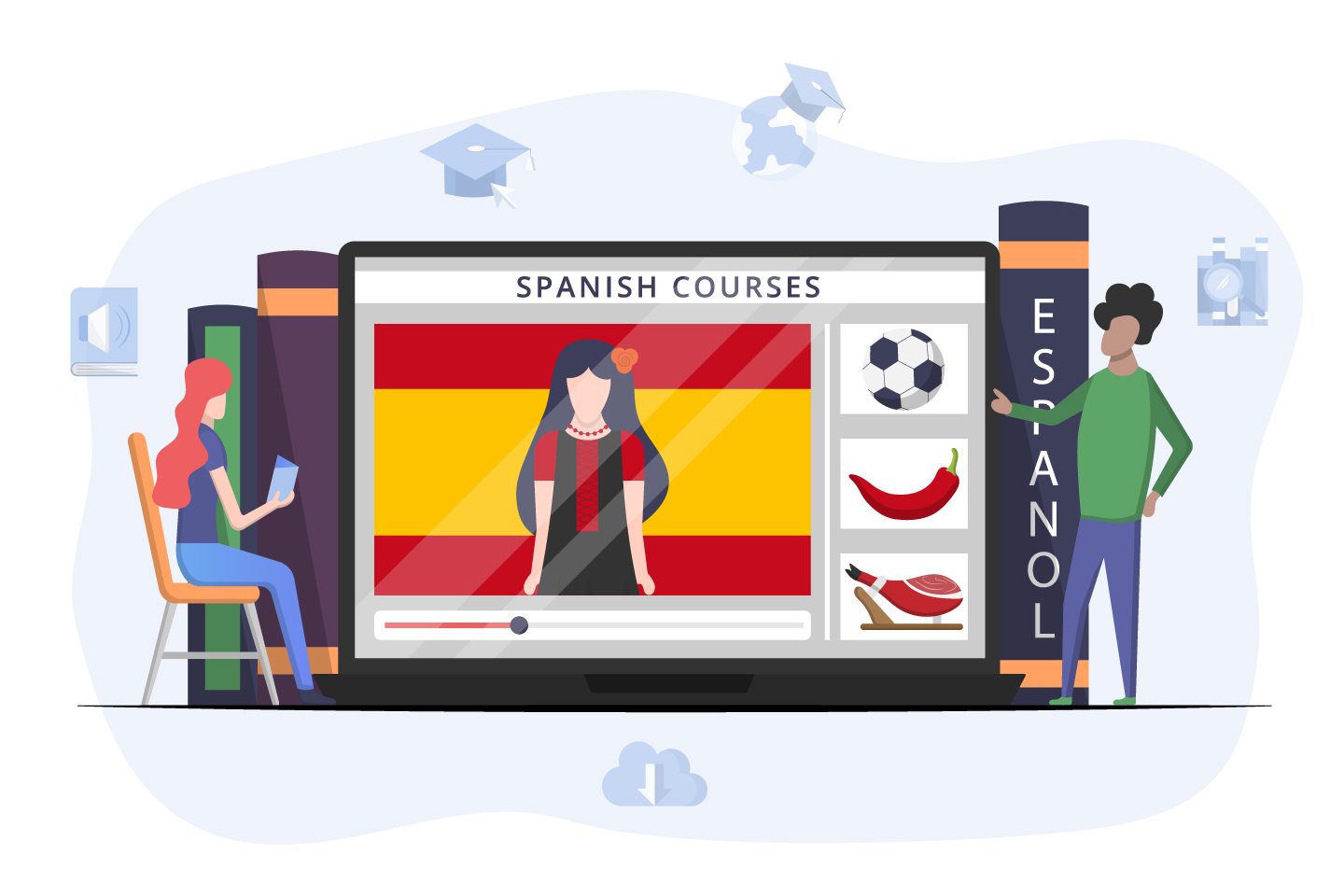 Spanish Courses Online Vector Design