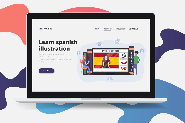Spanish Courses Online Vector Design