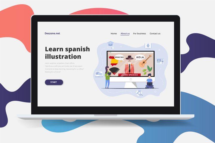 Learn Spanish Online Flat Design