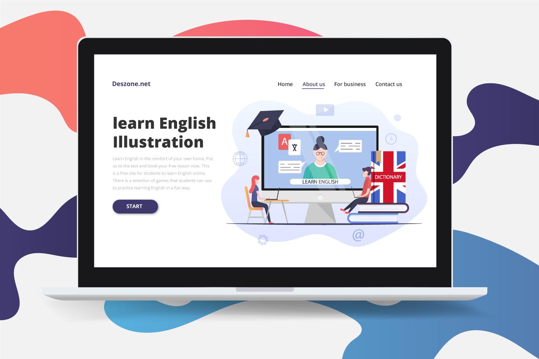 Learn English Online Flat Design