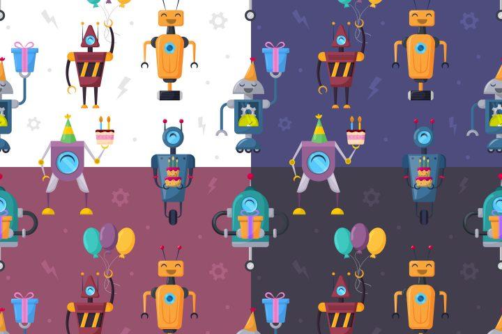 Robots Birthday Free Vector Seamless Pattern