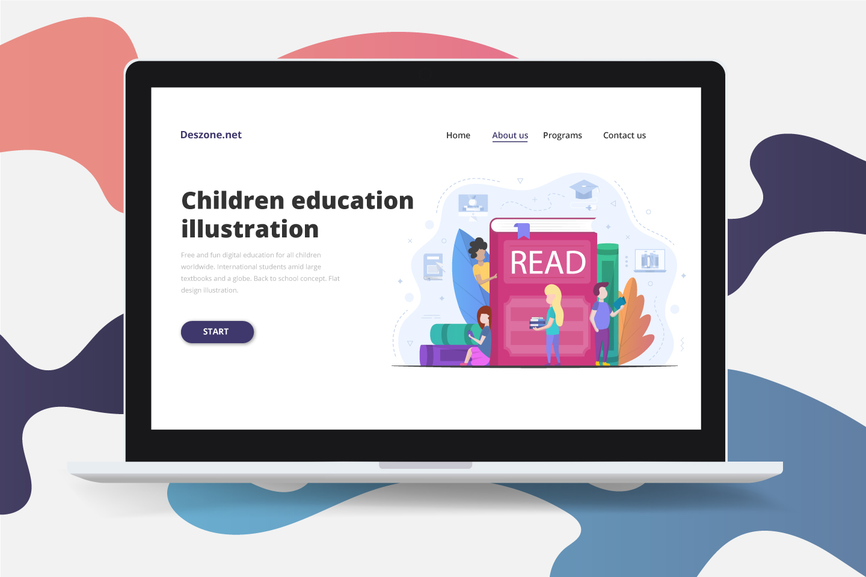 Schoolchildren Read Books Flat Design