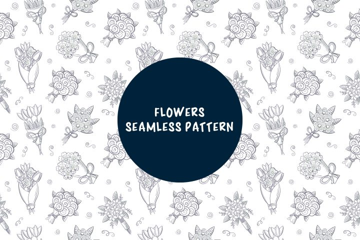 Seamless Pattern Consisting of Bouquets of Flowers Concept