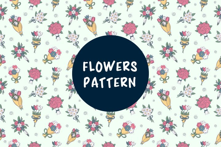 Seamless Pattern Consisting of Bouquets of Flowers