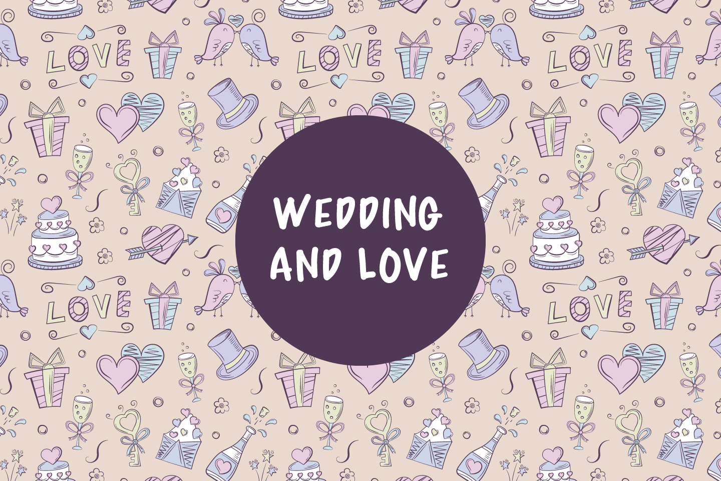 Seamless Pattern on the Theme of Wedding and Love
