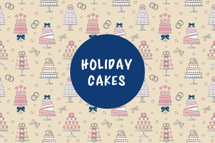 Seamless Pattern with Holiday Cakes