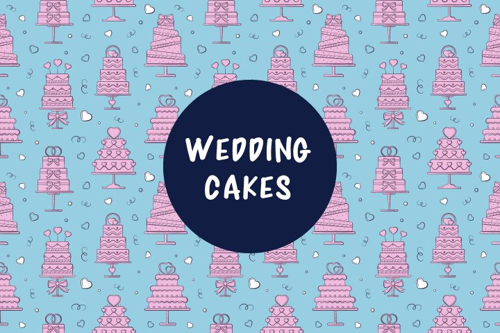 Seamless Pattern with Wedding Cakes
